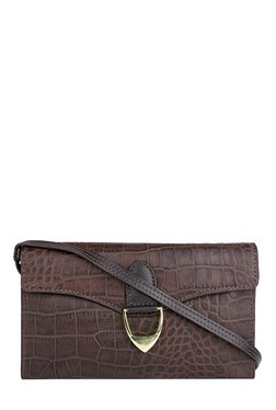 Hidesign EE Elsa W1 Brown Textured Leather Flap Sling Bag