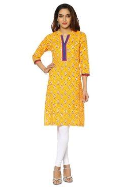 Soch Orange & Yellow Floral Print Cotton Kurta