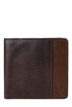 Hidesign Dark Brown Panelled RFID Bi-Fold Leather Wallet