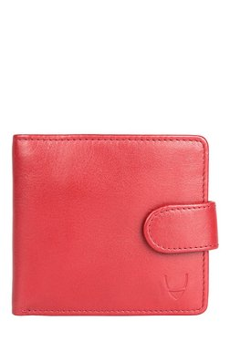 Hidesign Red Solid Bi-Fold Leather Wallet