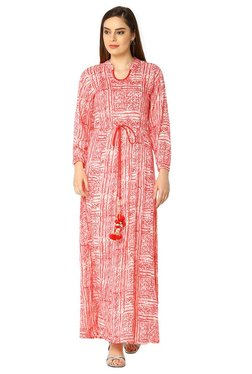 Soch Red & Off White Printed Rayon Kurta