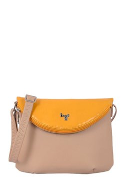 Baggit Wow Beige & Mango Yellow Solid Fold Over Sling Bag
