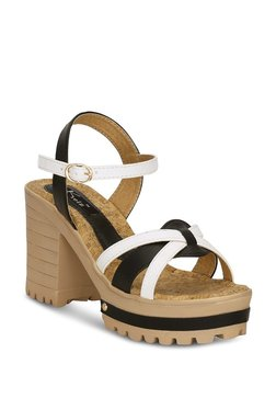 Kielz Black & White Ankle Strap Sandals