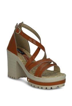 Kielz Dark Tan Cross Strap Sandals