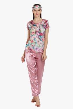 Libertina Multicolor Floral Print Chiffon Satin Pyjama Set