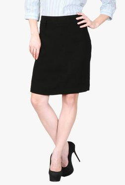 Solly By Allen Solly Black Knee Length Pencil Skirt