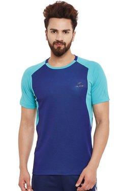 Alcis Royal Blue & Aqua Blue Regular Fit T-Shirt