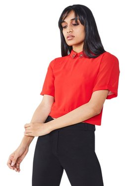 AND Red Short Sleeves Crop Top