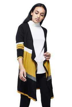 AND Mustard Textured Waterfall Front Open Shrug