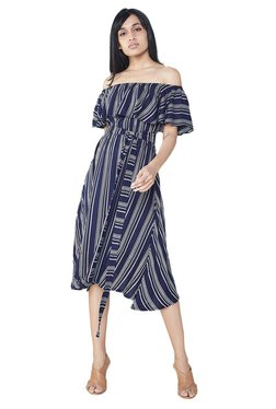 AND Navy Striped Fit & Flare Dress