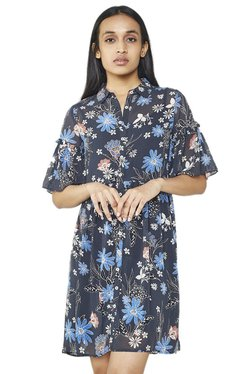 AND Navy Floral Print Shirt Dress