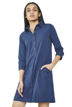 AND Blue Checks Shirt Dress