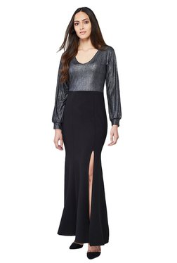 AND Black & Silver Textured Maxi Dress