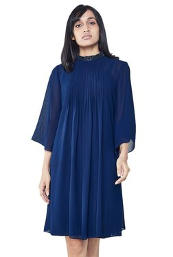 AND Ink Blue Embellished Pleated A-line Dress