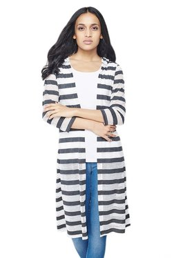 AND Grey & White Striped Front Open Longline Shrug