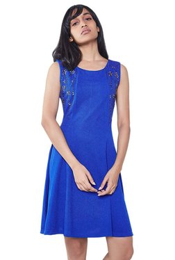 AND Blue Embellished Fit & Flare Dress