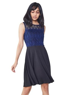 AND Ink Blue & Black Lace Fit & Flare Dress