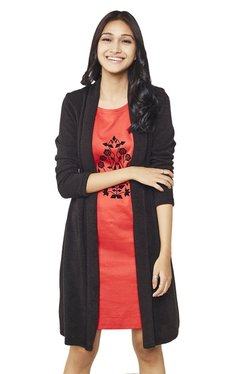 Global Desi Red & Black Printed Knee Length Dress With Shrug
