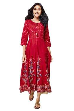 Global Desi Red Printed Viscose Kurta