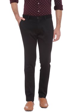 Basics Black Solid Tapered Fit Chinos