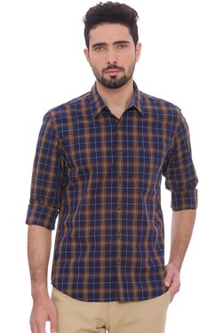 Basics Navy Checks Full Sleeves Shirt