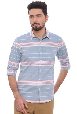 Basics Light Blue Striped Full Sleeves Shirt
