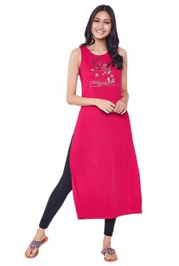 Global Desi Pink Printed Polyester Kurta