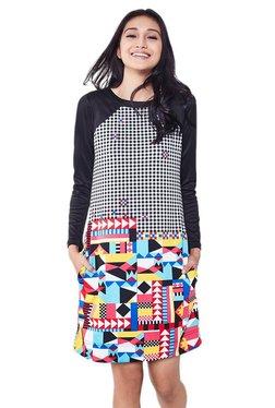 Global Desi Black Geometric Print Above Knee Dress