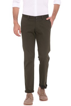 Basics Brown Mid Rise Tapered Fit Chinos