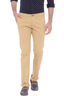 Basics Khaki Skinny Fit Solid Chinos