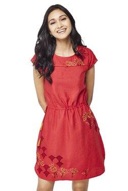 Global Desi Red Printed Above Knee Dress