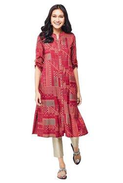 Global Desi Dark Red Printed Polyester Kurta