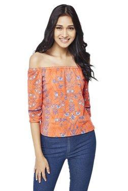 Global Desi Orange Printed Top