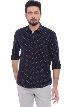 Basics Navy Printed Full Sleeves Slim Fit Shirt