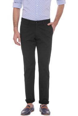 Basics Black Mid Rise Tapered Fit Chinos