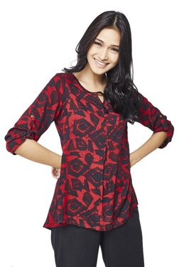 Global Desi Red Printed Top