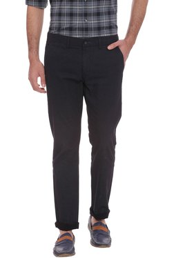 Basics Black Solid Mid Rise Tapered Fit Chinos