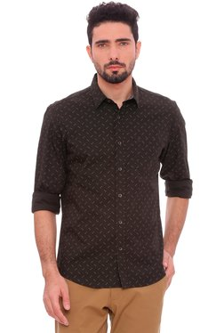 Basics Black Full Sleeves Slim Fit Shirt