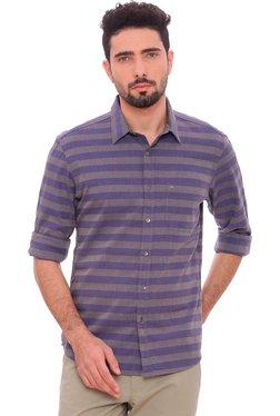 Basics Dark Blue Striped Full Sleeves Shirt