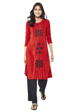 Global Desi Red Embroidered Polyester Kurta