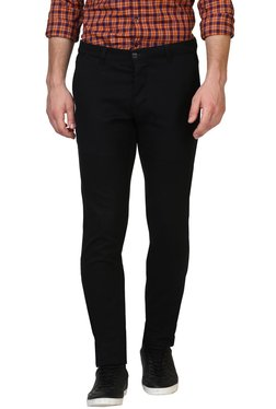 Parx Black Tapered Fit Mid Rise Trousers