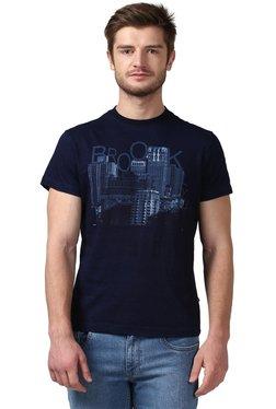 Parx Dark Blue Round Neck Regular Fit T-Shirt