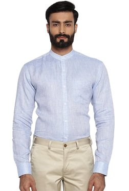 Park Avenue Blue Slim Fit Full Sleeves Band Collar Shirt