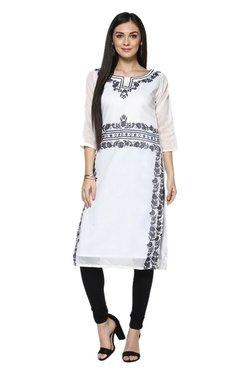 Ziyaa White Printed Chanderi Straight Kurta