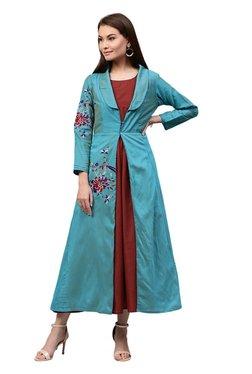Jaipur Kurti Blue & Maroon Embroidered Dress With Shrug