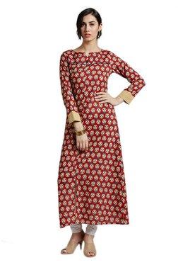 Jaipur Kurti Red Block Print Cotton Long Kurta