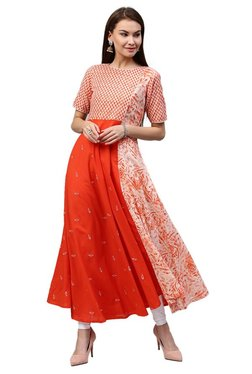 Jaipur Kurti Orange Printed Cotton Long Kurta