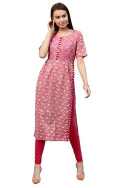 Jaipur Kurti Pink Floral Print Cotton Long Kurta