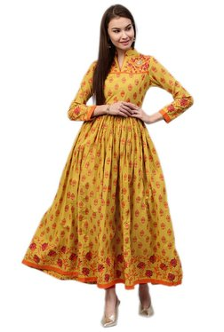Jaipur Kurti Yellow Printed Cotton Long Kurta