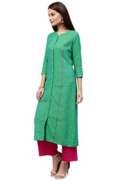 Jaipur Kurti Sea Green Self Print Cotton Long Kurta